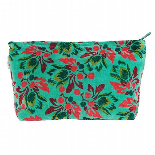 Patterned Cotton Velvet Washbag - Tulip Aqua